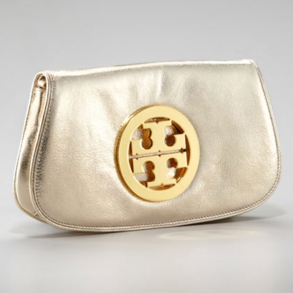 2a8eeacdb7 Tory Burch Bags | Metallic Gold Raphael Logo Clutch | Poshmark